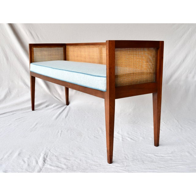 Wood 1950s Walnut Window Bench Attributed to Edward Wormley for Dunbar For Sale - Image 7 of 13