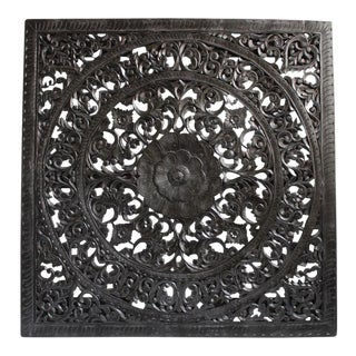 "Ebony Square Carved Wood Panel 60"" For Sale"