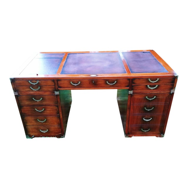 Traditional Starbay Rosewood Richelieu Leather Top Executive Desk For Sale