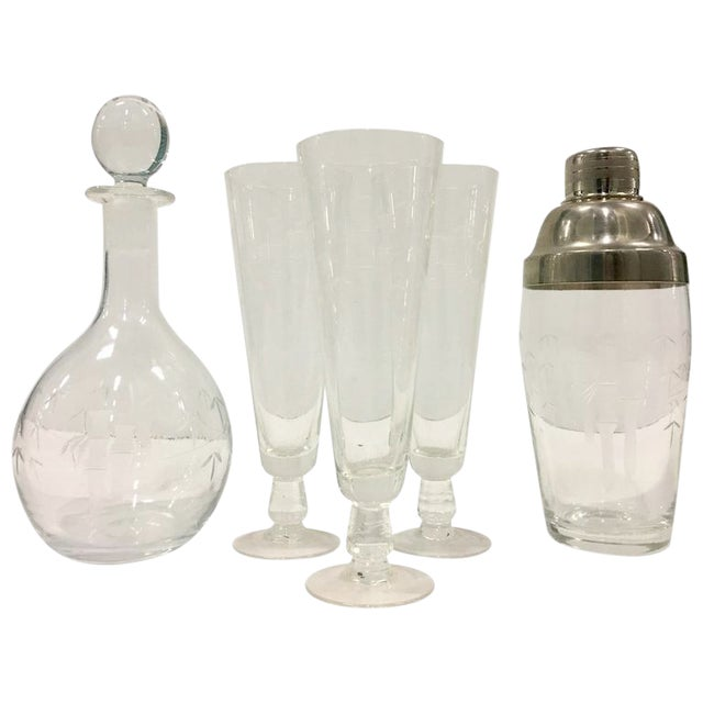 Mid-Century Japanese Etched Crystal Bamboo Drinks - Set of 7 For Sale