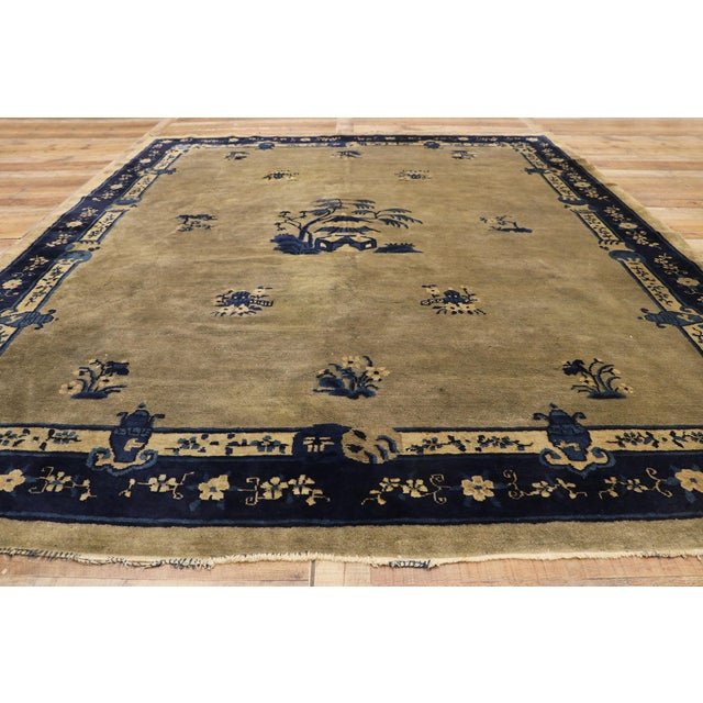 Textile Early 20th Century Antique Chinese Peking Rug With Pagoda Design 08'03 X 09'07 For Sale - Image 7 of 10