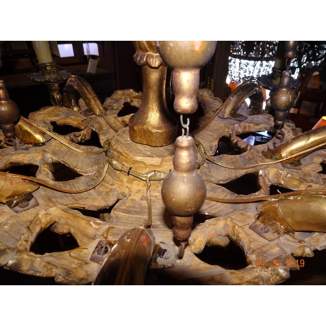 Wood 18th Century Venetian Gilt Wood Chandelier For Sale - Image 7 of 13