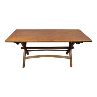 Vintage Mid Century Rustic Pine Wood Dining Table For Sale