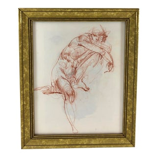 Gilt Framed Nude Male Chalk Figure Drawing, Unsigned For Sale