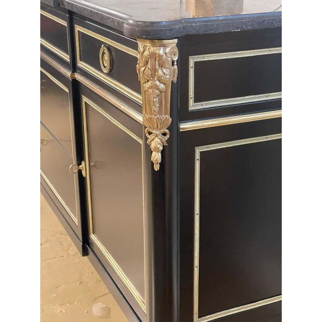 Ebony Hollywood Regency Commode or Sideboard Stamped Maison Jansen. Made France For Sale - Image 9 of 12