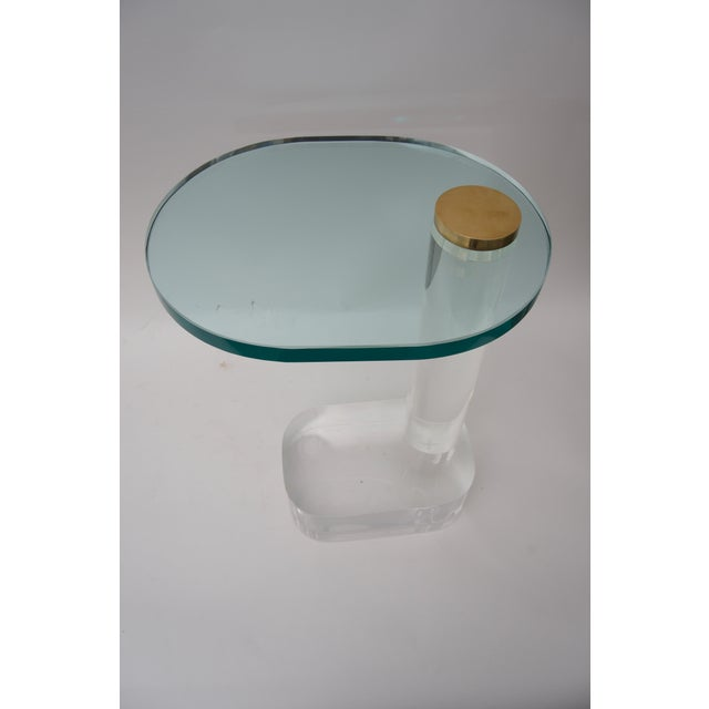 Late 20th Century Side Table in Lucite, Brass and Glass by Pace Furniture For Sale - Image 5 of 8