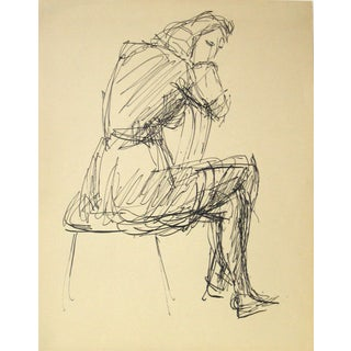 Jennings Tofel Vintage Woman in Chair Ink Drawing For Sale