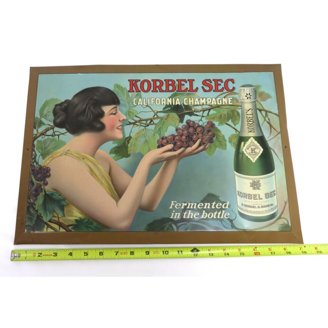 1920s Antique California Champagne Advertising Sign For Sale - Image 11 of 13