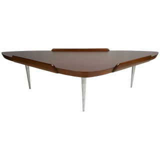 "Mid-Century Modern Walnut and Aluminum ""Guitar Pick"" Cocktail Table For Sale"