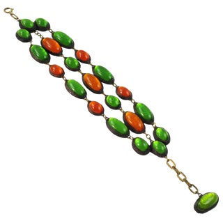 Green Orange Talosel Bracelet Executed by the Workshop of Line Vautrin For Sale