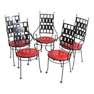 Shaver Howard Mid Century Modern Set 6 Wrought Iron Dining Chairs For Sale