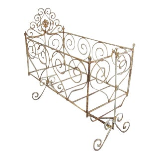 Vintage Victorian Wrought Iron Scrollwork Crib For Sale