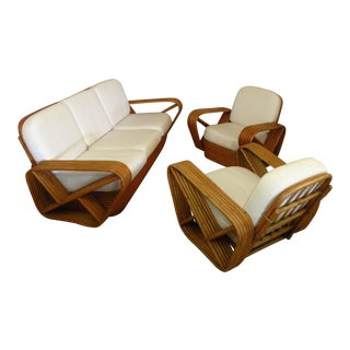 1940s Vintage Paul Frankl Godfather Rattan Seating Set- 3 Pieces For Sale