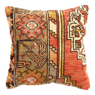 Vintage Turkish Hand Knotted Rug Pillow For Sale