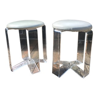 Mid-Century Modern Lucite Vanity Stools- a Pair For Sale