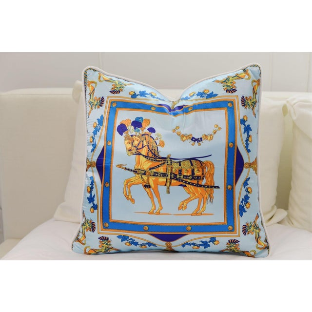 Blue Horse Silk Pillow For Sale - Image 4 of 4