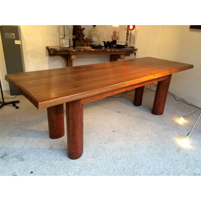 Brutalist Andre Sol Solid Wood Long Table With Perriand Accent For Sale - Image 3 of 4