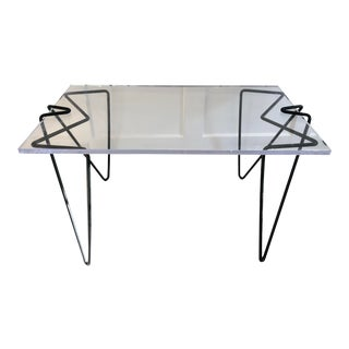 Modern Acrylic Writing Desk With Metal Legs For Sale