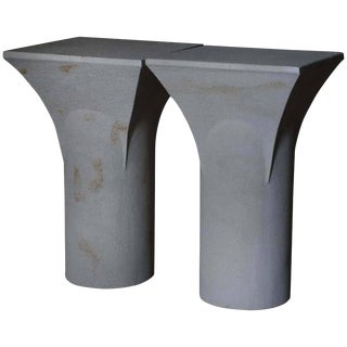 "Pair of ""Ravissant"" Sireu Stone Side Tables by Frederic Saulou For Sale"