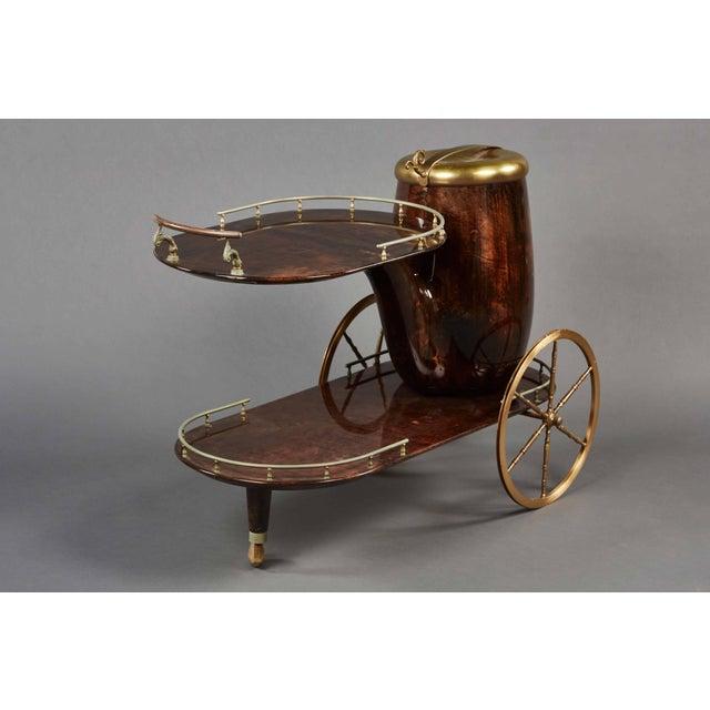 Mid-Century Modern Charming Aldo Tura Bar Cart For Sale - Image 3 of 11