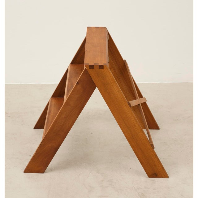Mid-Century Modern Cabinetmaker's Folding Step Ladder in Teak and Brass, Denmark 1940s For Sale - Image 3 of 11