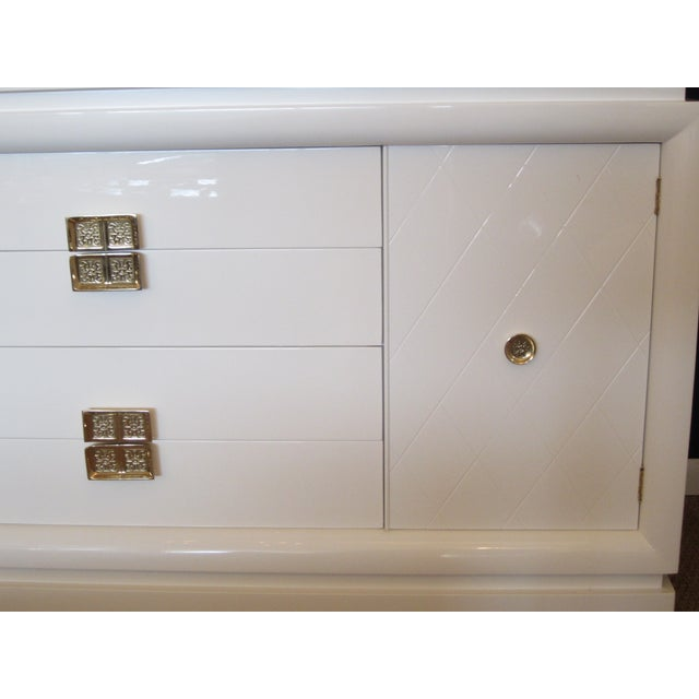 White Lacquer Chinoiserie Credenza - Image 7 of 10
