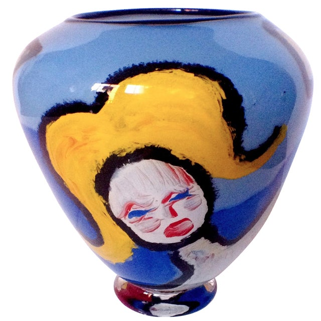 Handblown Faces Vase By Thor Bueno Chairish