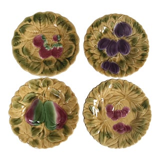 Sarreguemines French Faience Majolica Fruit Design Plates, Set of 4 For Sale