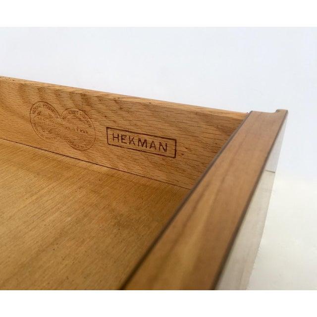 Mid-Century Hekman Burl Wood Parsons Writing Desk - Image 8 of 12