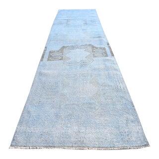 Vintage Soft Blue Runner- 3′ × 11′1″ For Sale