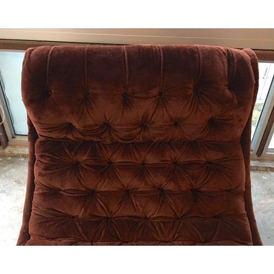 Mid-Century Custom Tufted Brown Velvet Chaise - Image 8 of 8