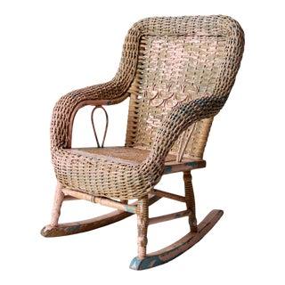 Antique Victorian Children's Wicker Rocking Chair For Sale
