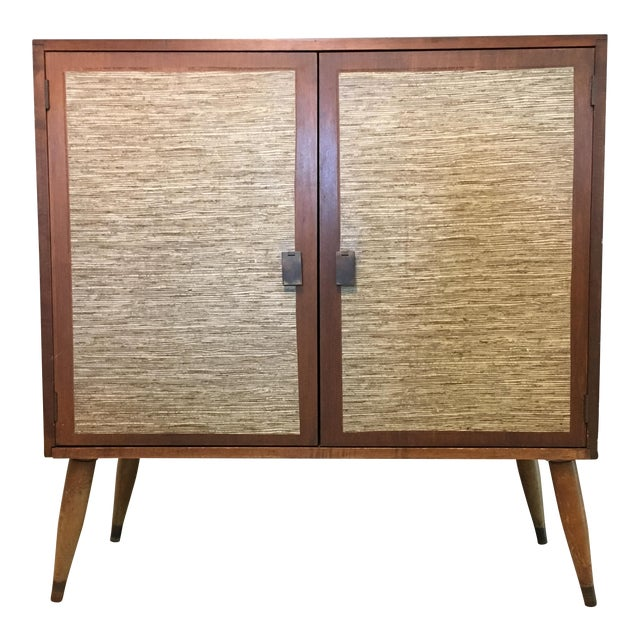 Mid-Century Cabinet with Woven Doors - Image 1 of 9