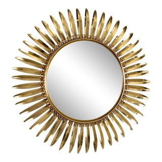Vintage Italian Metal Starburst With Convex Mirror For Sale