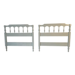 "Vintage ""Dixie"" Seafoam Green Twin Size Headboards C.1950s - A Pair"
