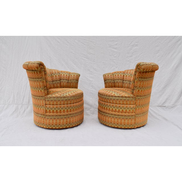 Art Deco Channel Back Swivel Art Deco Inspired Chairs For Sale - Image 3 of 13