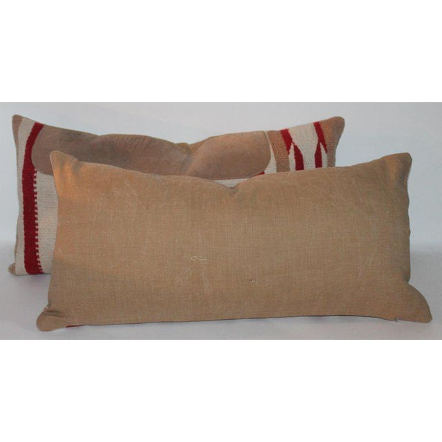 Animal Skin Navajo Indian Weaving Saddle Blanket Pillows - A Pair For Sale - Image 7 of 10