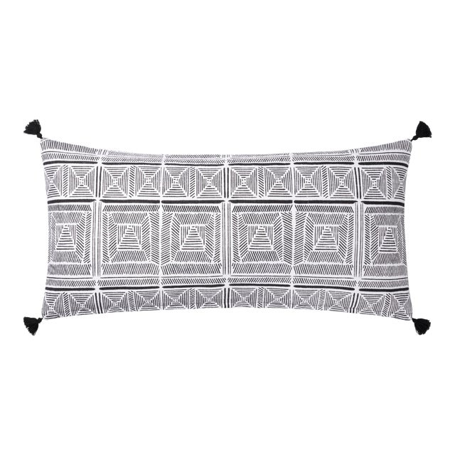 """Justina Blakeney X Loloi Black / White 12"""" X 27"""" Cover with Down Pillow For Sale"""