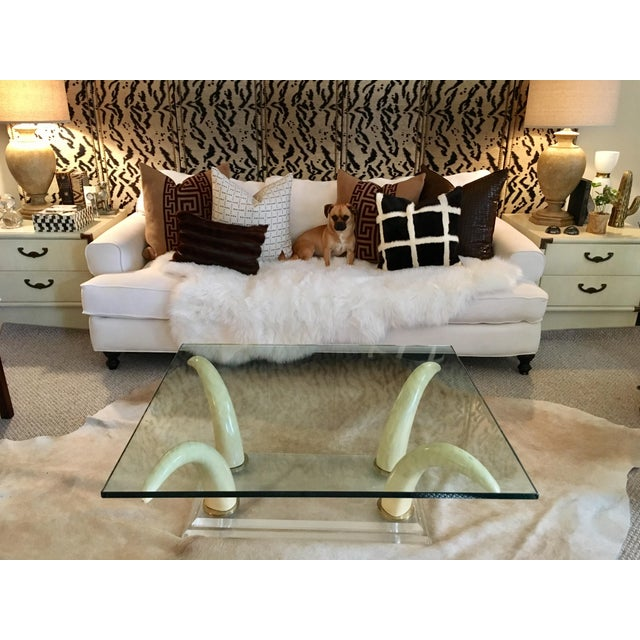 Faux Elephant Tusk & Lucite Coffee Table For Sale - Image 10 of 10