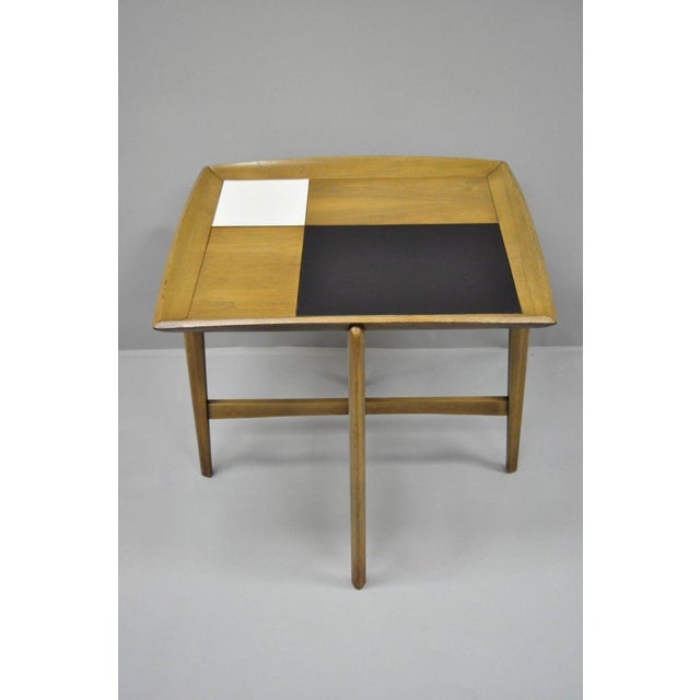 Danish Modern Sculptural Walnut Side Table attributed to John Keal for Brown Saltman. Item features black & white laminate...