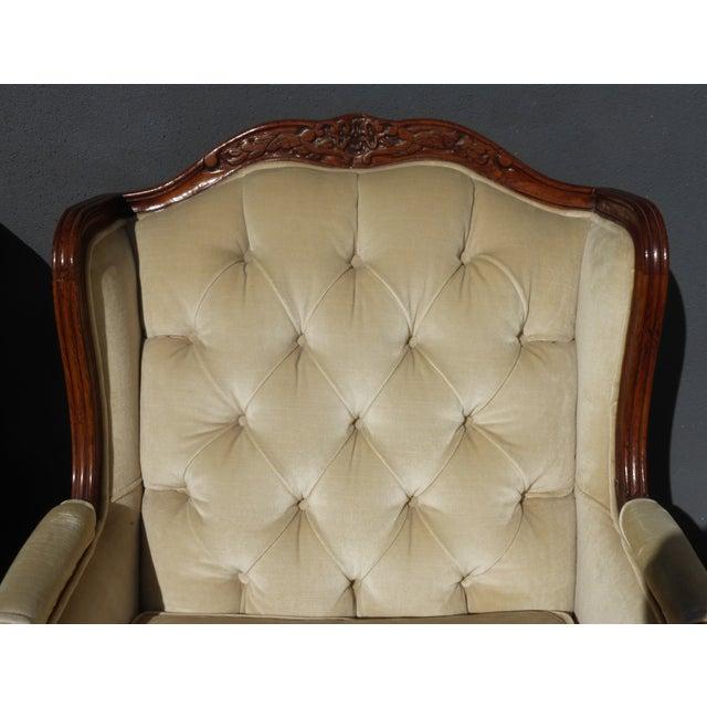 Pair of Bernhardt Tufted Wing Back Velvet Chairs - Image 9 of 11