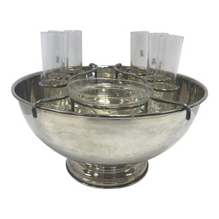 Sheffield Italy Silver Bowl and Cordial Glasses Barware Set For Sale