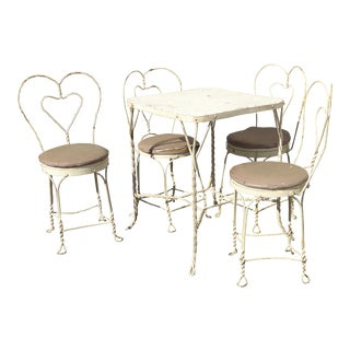 Vintage Farmhouse Industrial White Iron Table & Four Heart Shaped Chairs Set For Sale