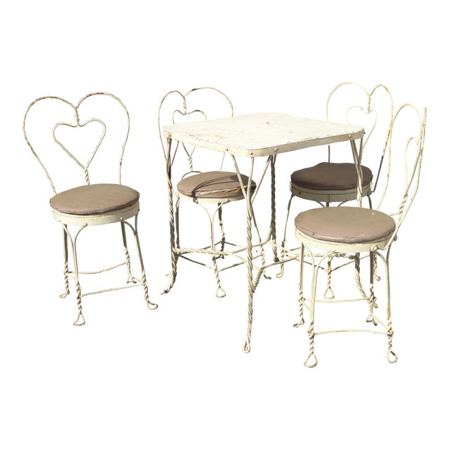 Vintage Ice Cream Parlor Industrial White Table & 4 Heart Shaped Metal Chair Set For Sale