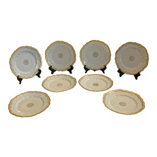 Antique Wurttemberg Rococo White and Gold Plates - Set of 8 For Sale