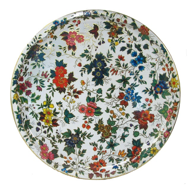 Vintage English Daher Floral Tray - Image 1 of 4