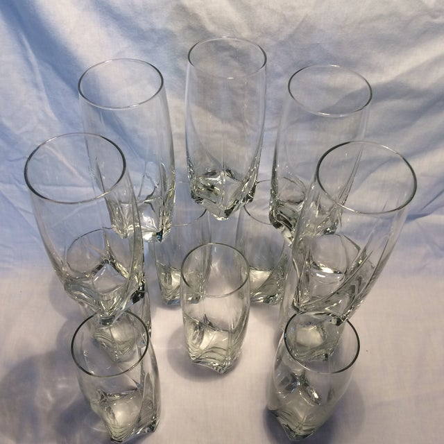 12 Crystal Square Base Water Glasses For Sale - Image 10 of 11