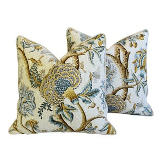 """French Jacobean Floral Cotton & Linen Feather/Down Pillows 24"""" Square - Pair For Sale"""