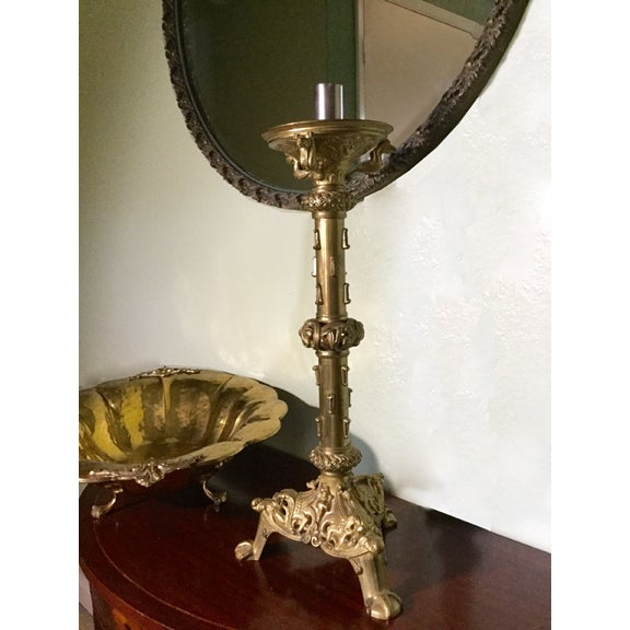 Vintage French Medival-Style Altar Candlestick For Sale - Image 6 of 6