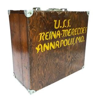 1940s Vintage Oak Nautical Machinist Box Chest For Sale
